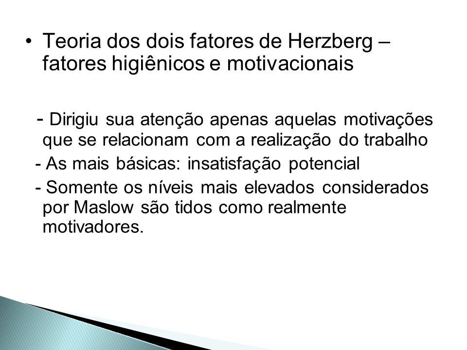 Teoria dos dois fatores de Herzberg – fatores higiênicos e motivacionais
