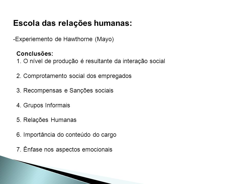 Escola das relações humanas: