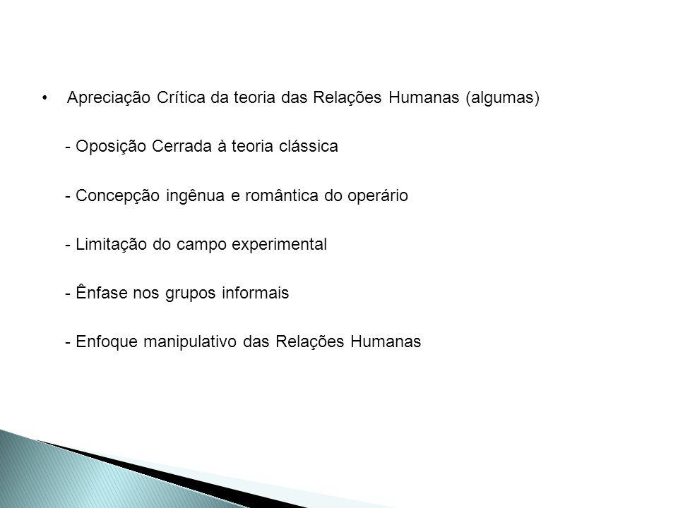 Apreciação Crítica da teoria das Relações Humanas (algumas)