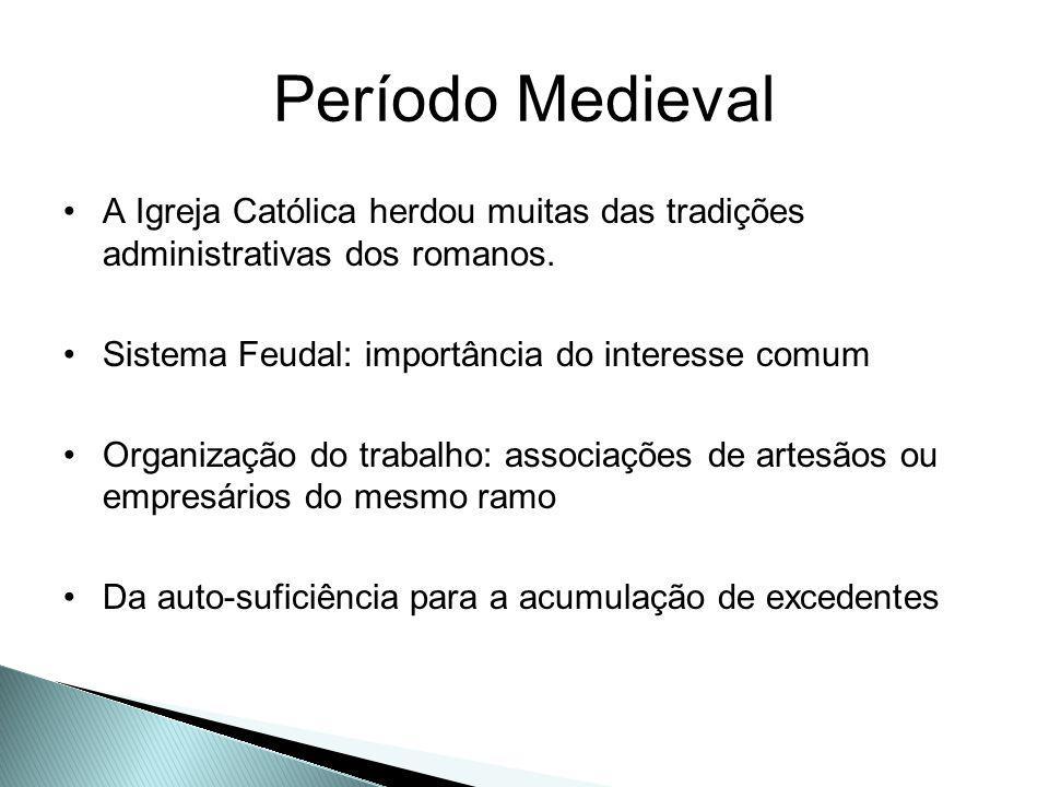 Período Medieval A Igreja Católica herdou muitas das tradições administrativas dos romanos. Sistema Feudal: importância do interesse comum.