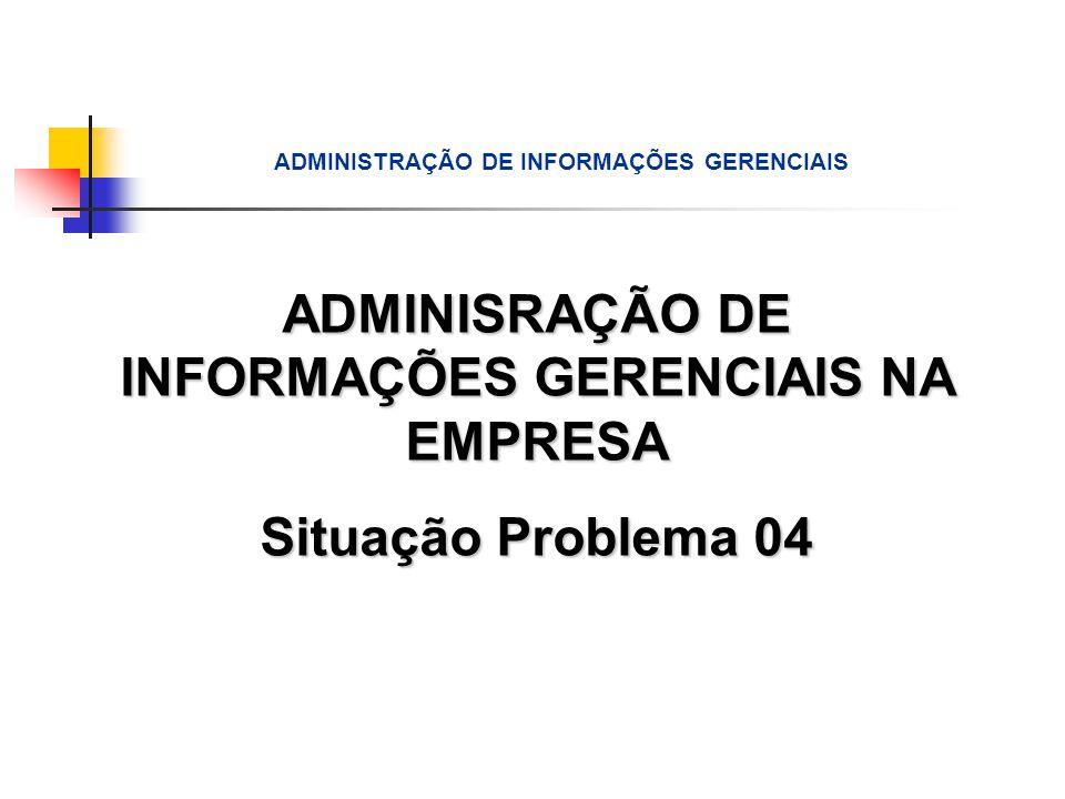 ADMINISRAÇÃO DE INFORMAÇÕES GERENCIAIS NA EMPRESA Situação Problema 04