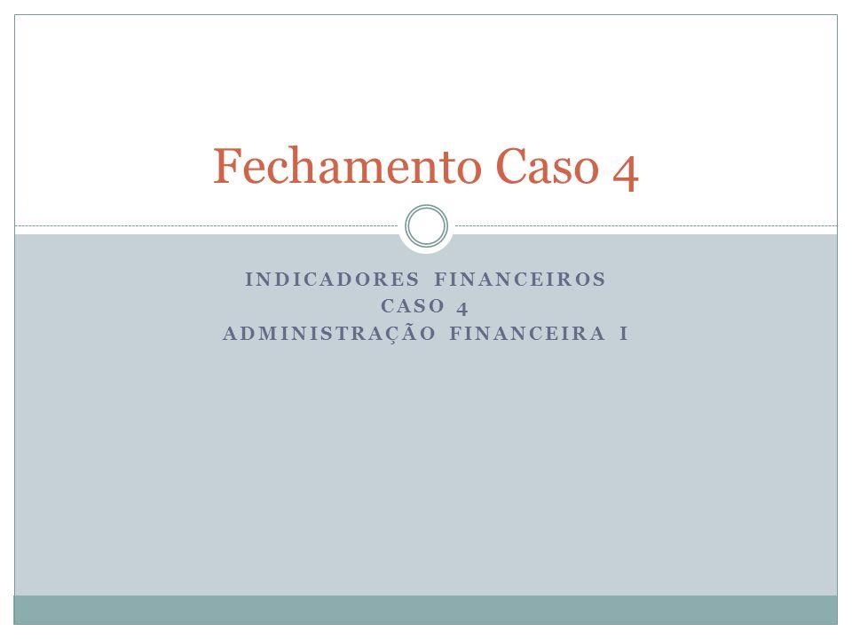 INDICADORES FINANCEIROS CASO 4 ADMINISTRAÇÃO FINANCEIRA I