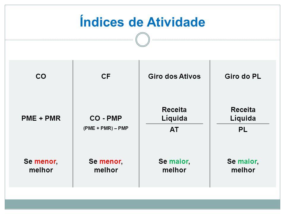 Índices de Atividade CO CF Giro dos Ativos Giro do PL PME + PMR