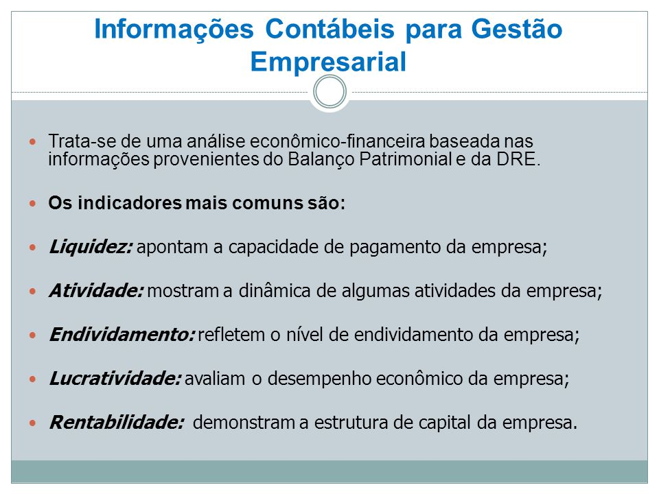 Informações Contábeis para Gestão Empresarial