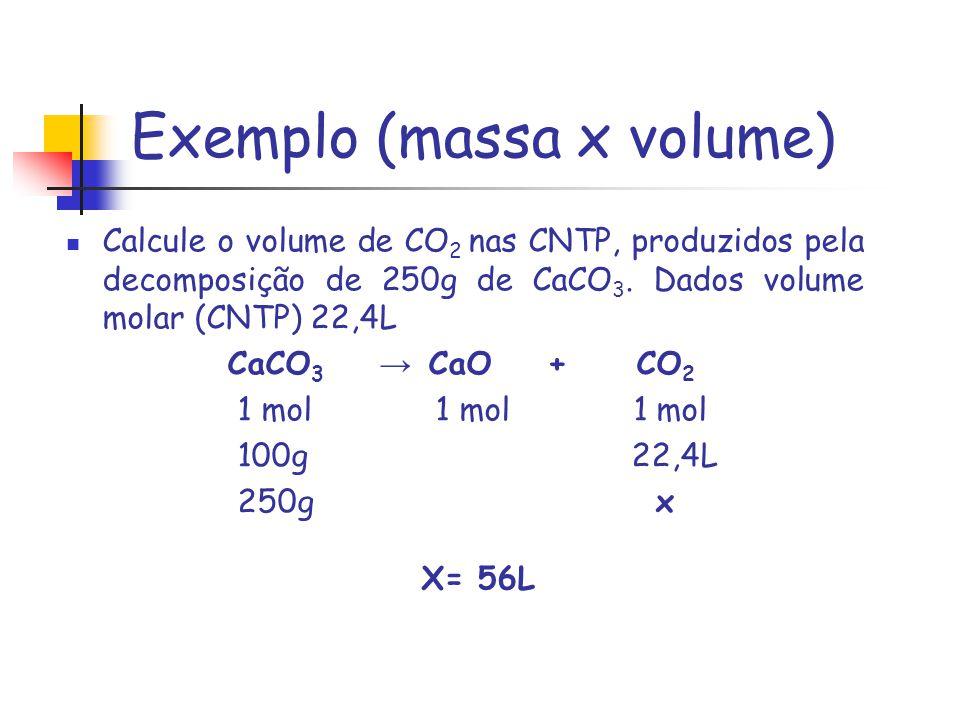 Exemplo (massa x volume)