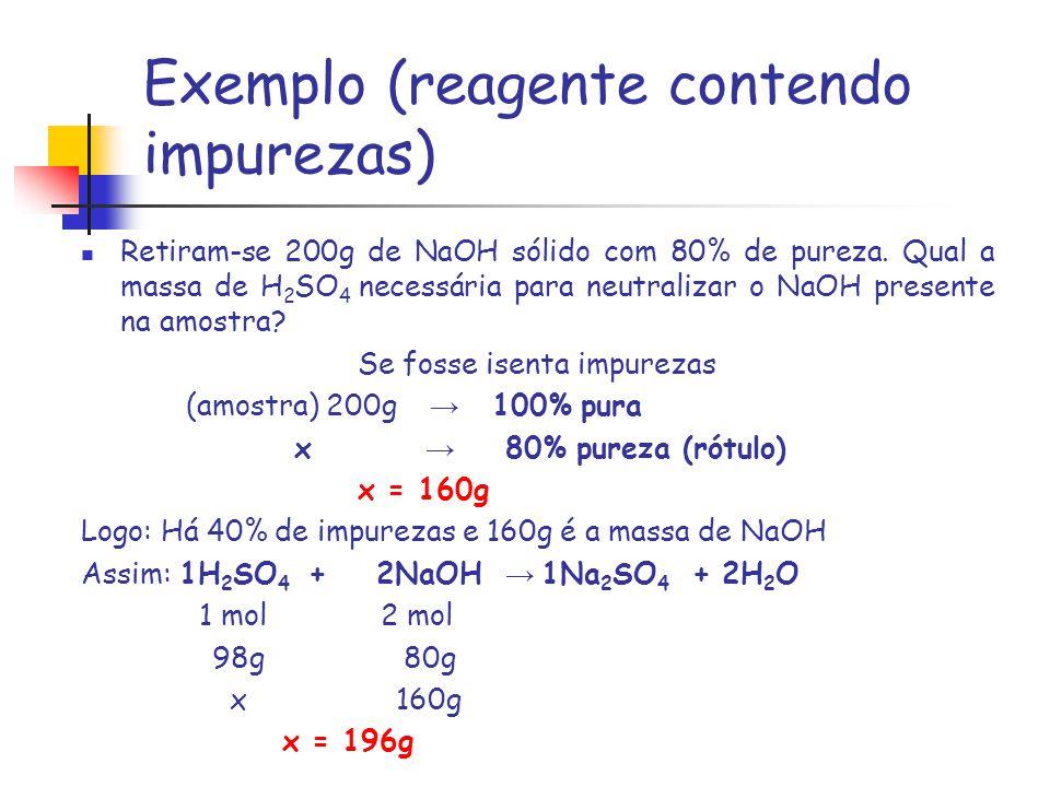 Exemplo (reagente contendo impurezas)