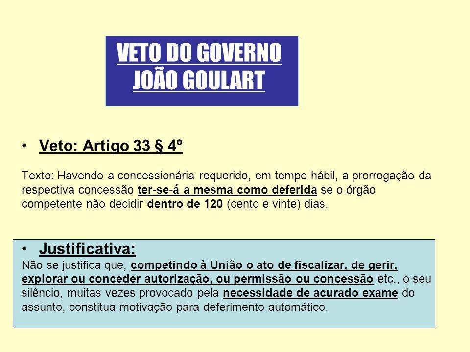 VETO DO GOVERNO JOÃO GOULART