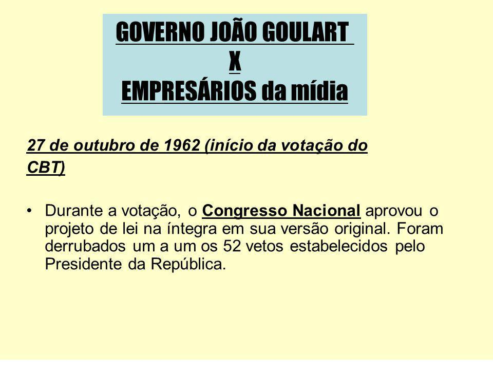 GOVERNO JOÃO GOULART X EMPRESÁRIOS da mídia