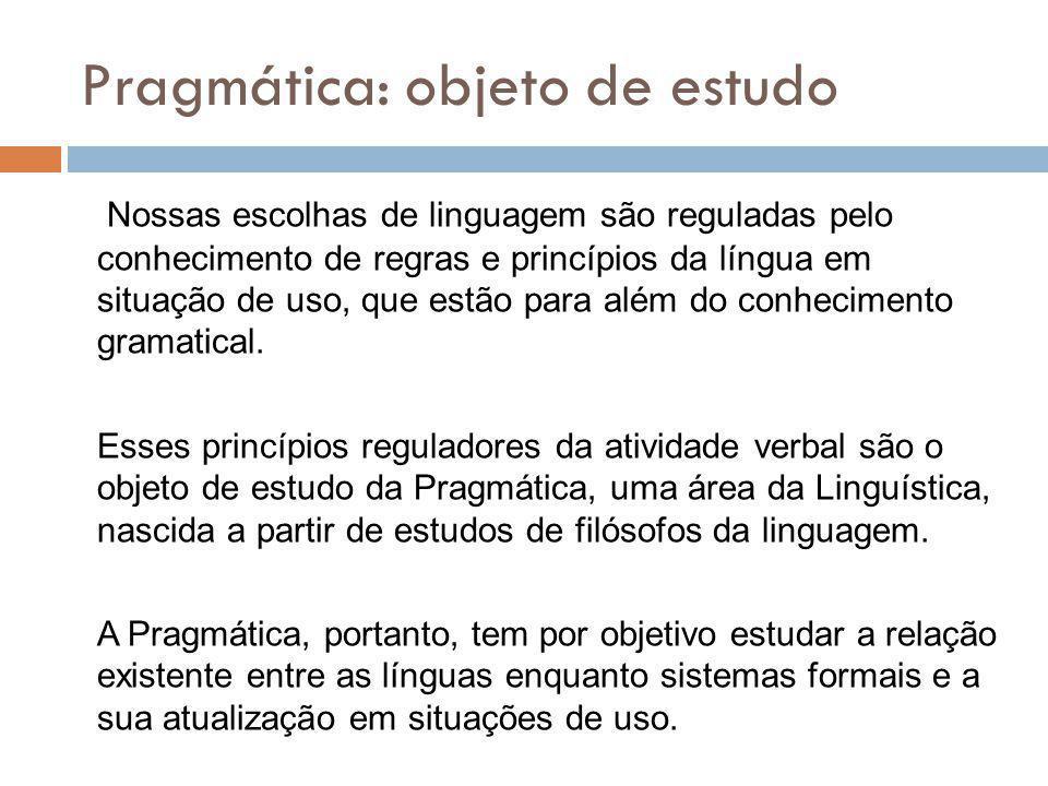 Pragmática: objeto de estudo