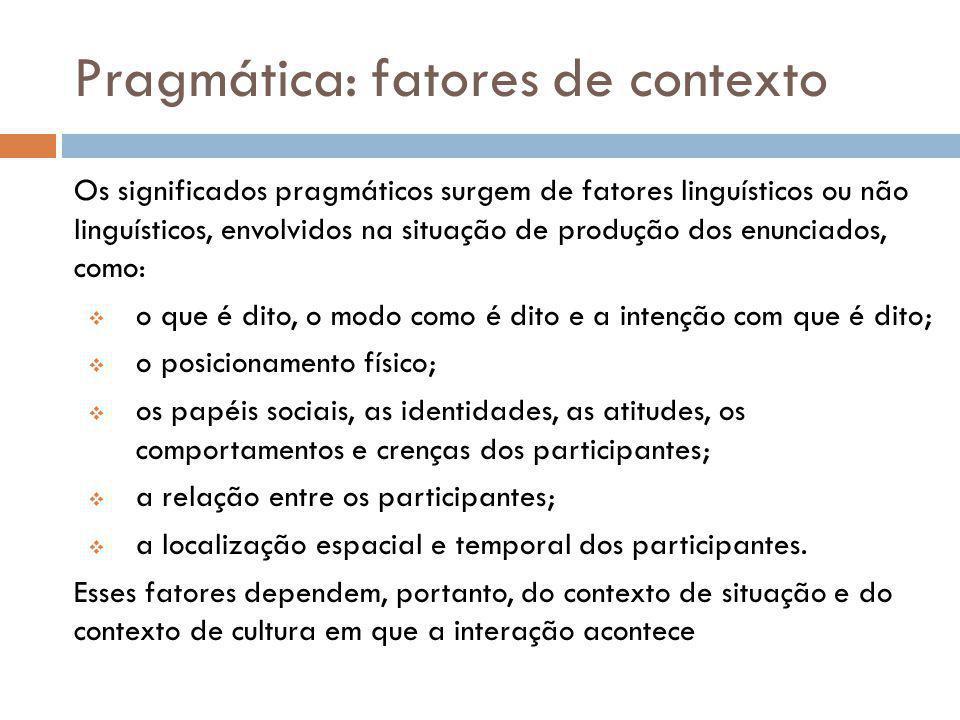 Pragmática: fatores de contexto