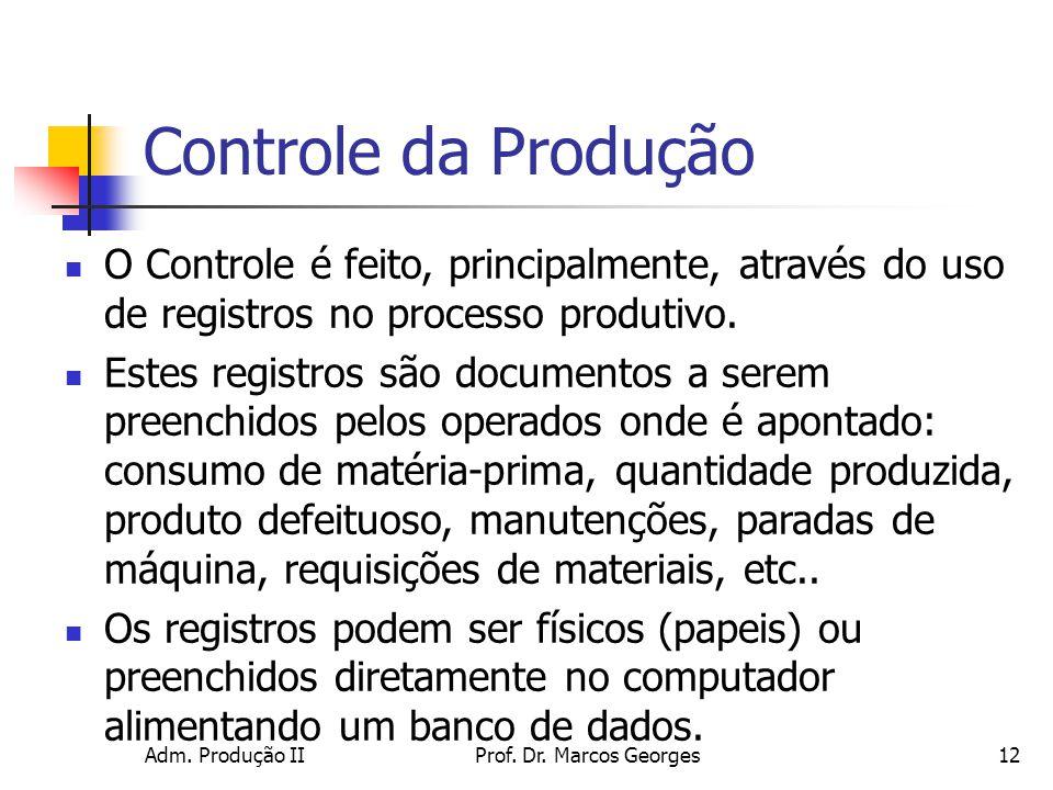 Controle da Produção O Controle é feito, principalmente, através do uso de registros no processo produtivo.