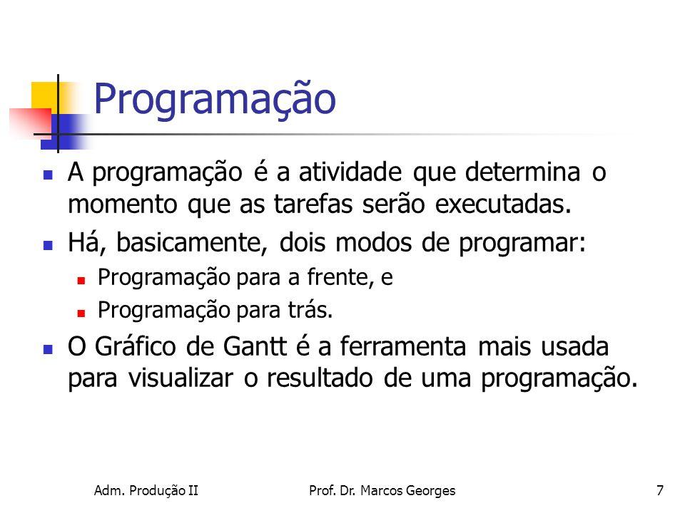 Programação A programação é a atividade que determina o momento que as tarefas serão executadas. Há, basicamente, dois modos de programar: