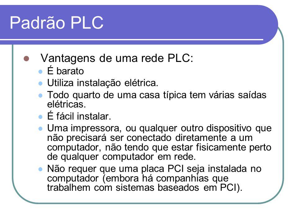 Padrão PLC Vantagens de uma rede PLC: É barato