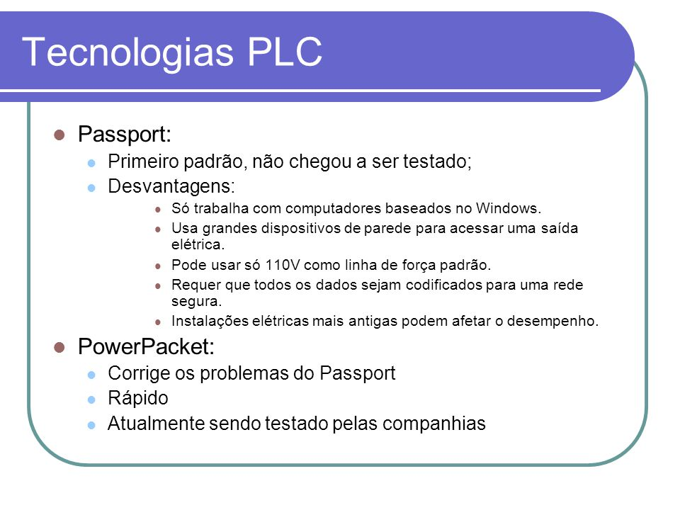 Tecnologias PLC Passport: PowerPacket: