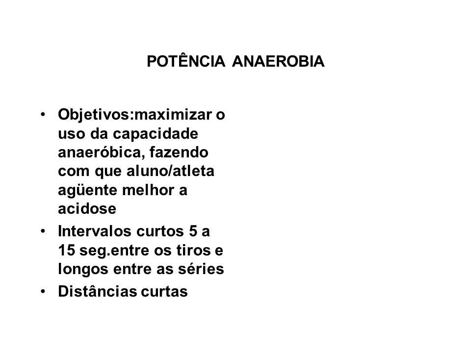 POTÊNCIA ANAEROBIA Objetivos:maximizar o uso da capacidade anaeróbica, fazendo com que aluno/atleta agüente melhor a acidose.