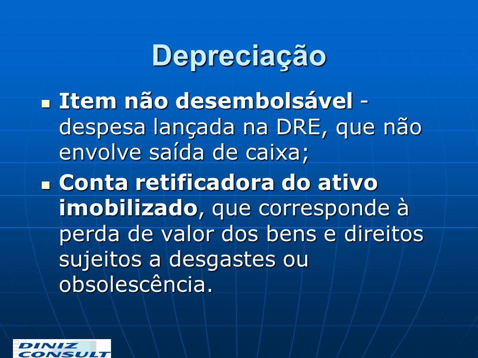 Depreciação Item não desembolsável - despesa lançada na DRE, que não envolve saída de caixa;