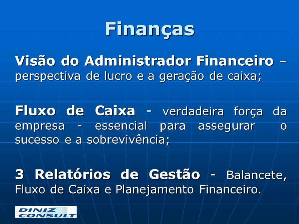 Finanças Visão do Administrador Financeiro – perspectiva de lucro e a geração de caixa;