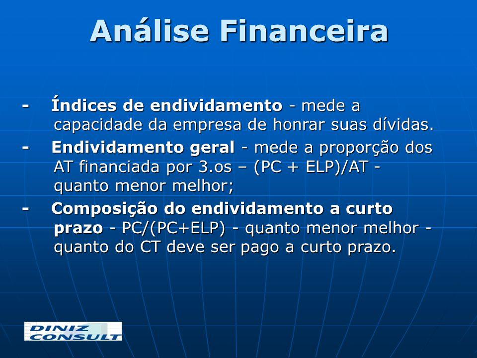 Análise Financeira - Índices de endividamento - mede a capacidade da empresa de honrar suas dívidas.