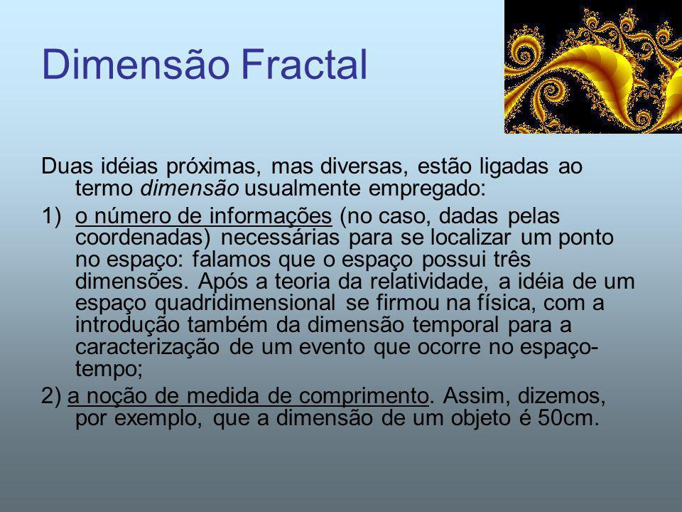 Dimensão Fractal Duas idéias próximas, mas diversas, estão ligadas ao termo dimensão usualmente empregado: