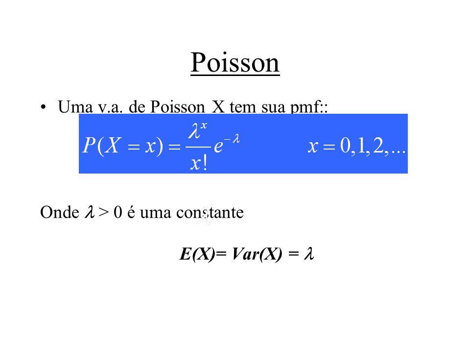 Poisson Uma v.a. de Poisson X tem sua pmf::