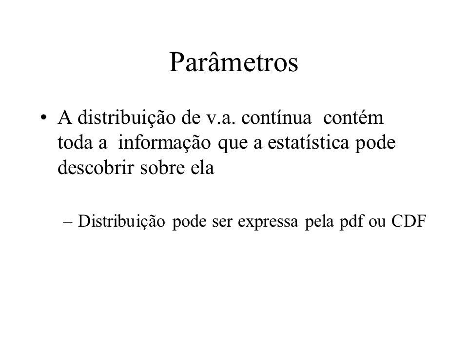Parâmetros A distribuição de v.a. contínua contém toda a informação que a estatística pode descobrir sobre ela.