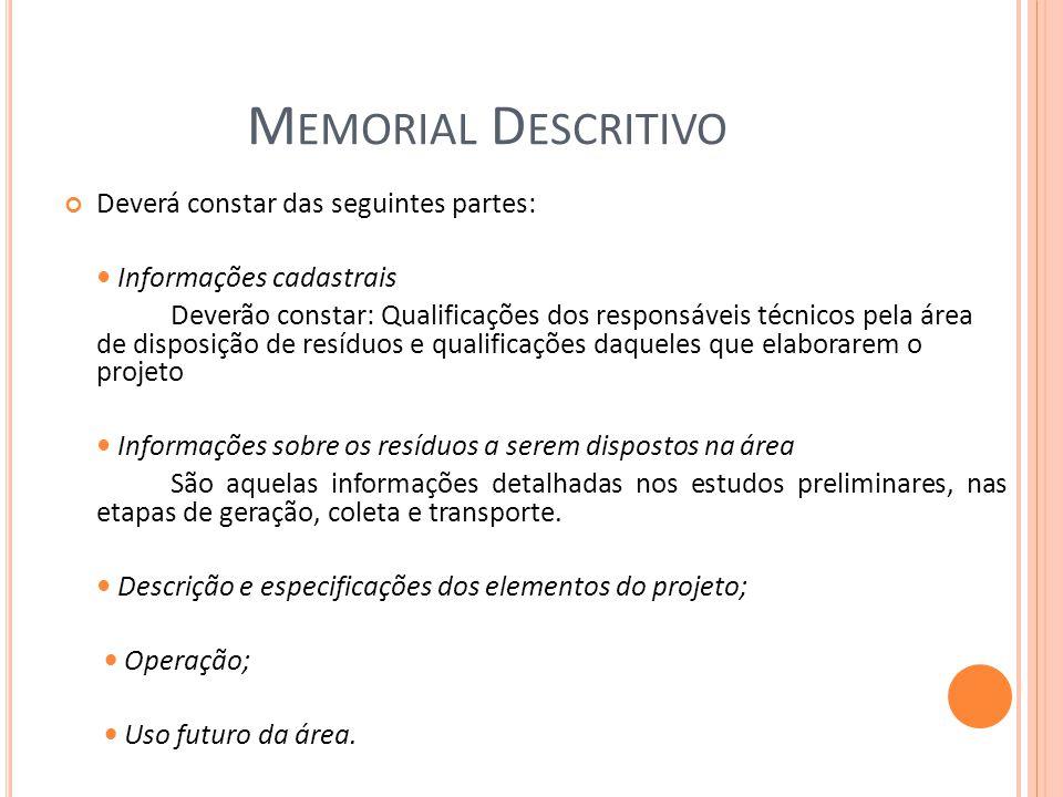 Memorial Descritivo Deverá constar das seguintes partes: