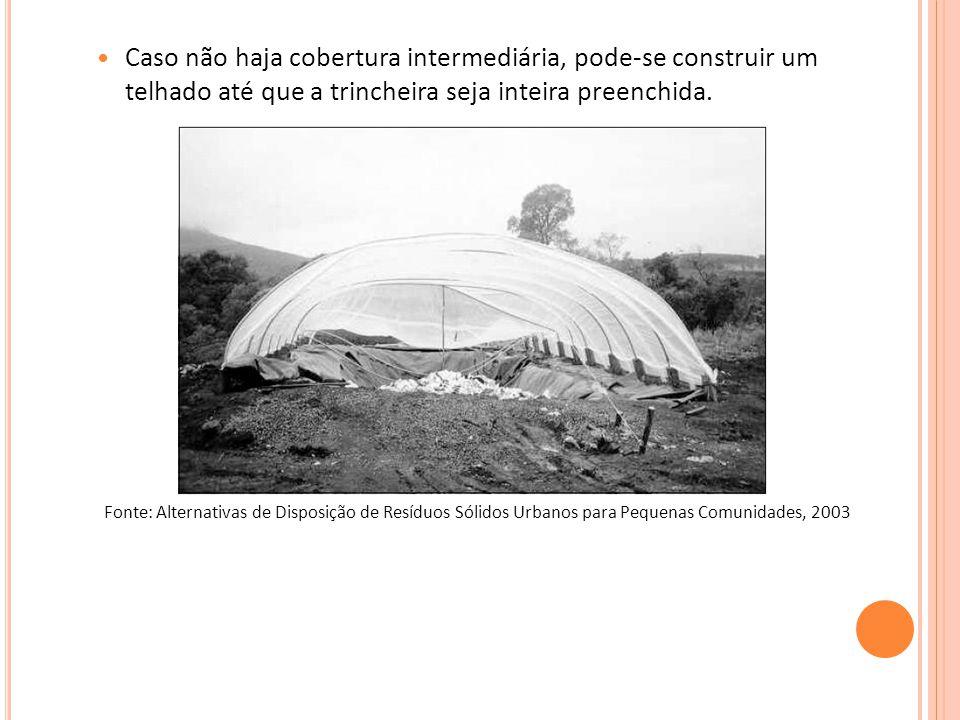 Caso não haja cobertura intermediária, pode-se construir um telhado até que a trincheira seja inteira preenchida.