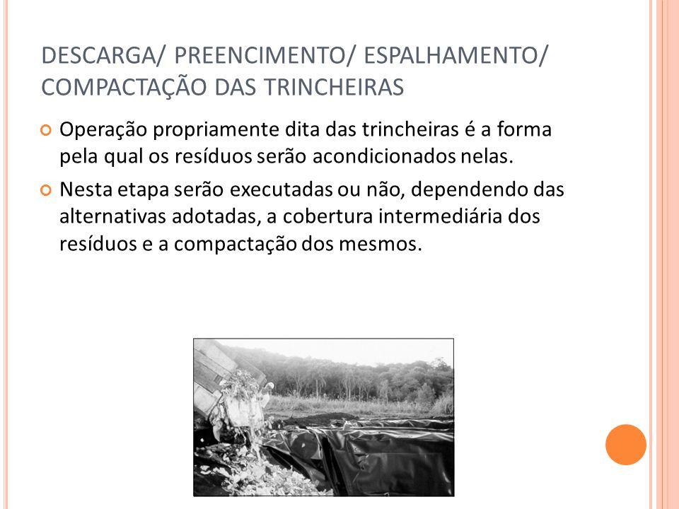 DESCARGA/ PREENCIMENTO/ ESPALHAMENTO/ COMPACTAÇÃO DAS TRINCHEIRAS