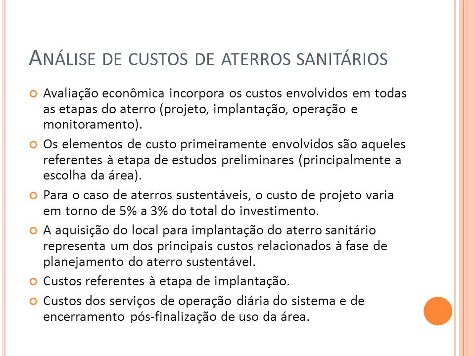 Análise de custos de aterros sanitários