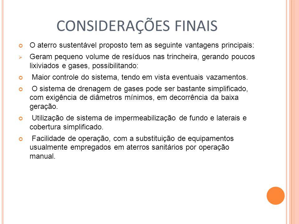 CONSIDERAÇÕES FINAIS O aterro sustentável proposto tem as seguinte vantagens principais:
