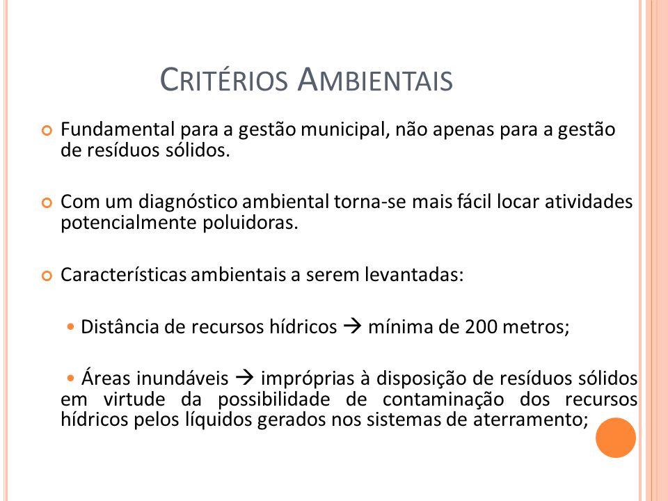 Critérios Ambientais Fundamental para a gestão municipal, não apenas para a gestão de resíduos sólidos.