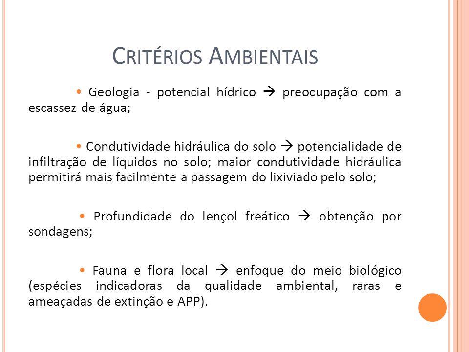 Critérios Ambientais • Geologia - potencial hídrico  preocupação com a escassez de água;