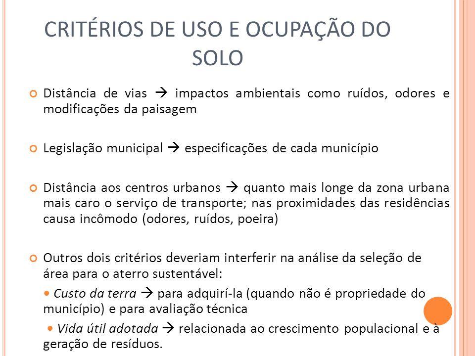 CRITÉRIOS DE USO E OCUPAÇÃO DO SOLO