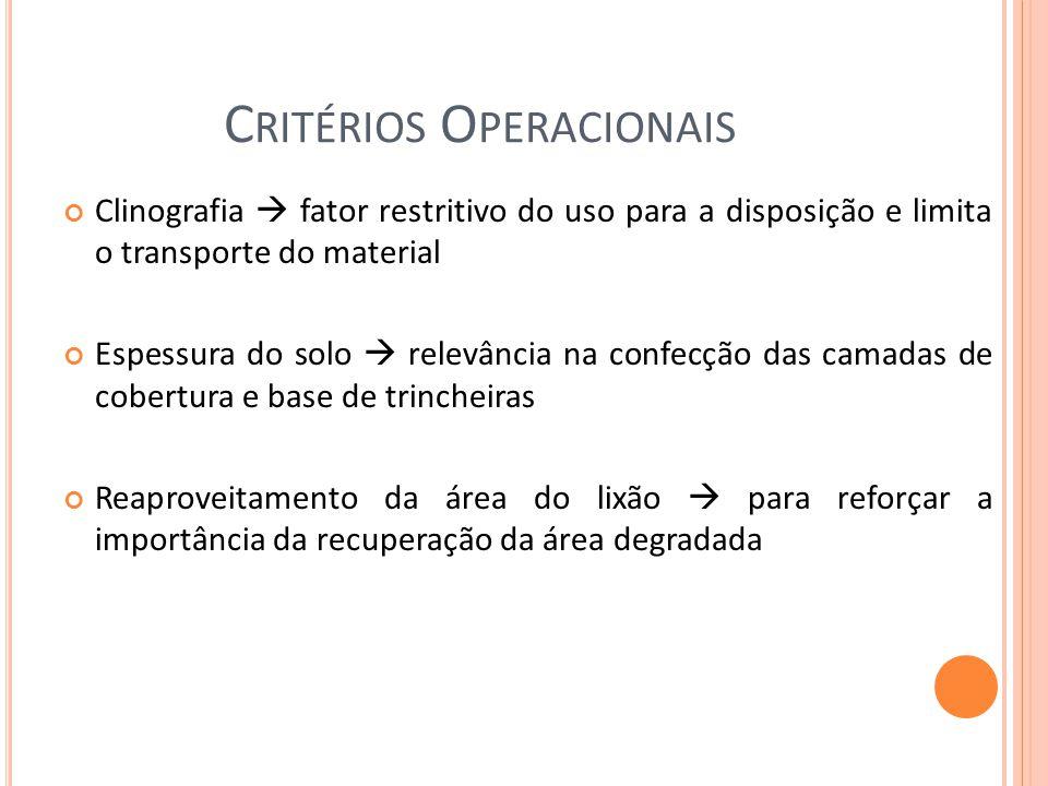 Critérios Operacionais