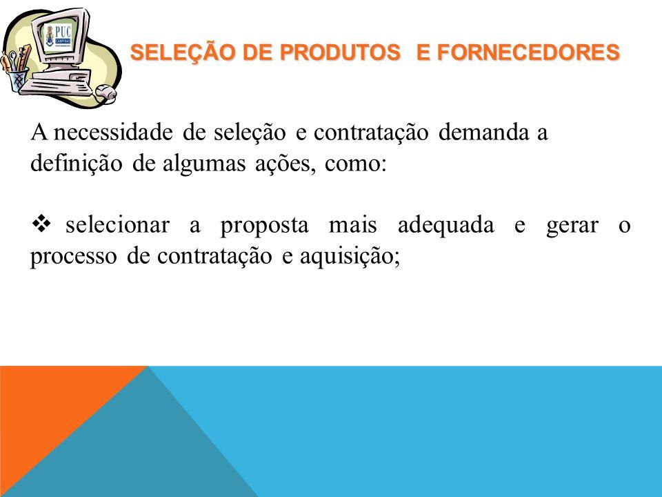 SELEÇÃO DE PRODUTOS E FORNECEDORES