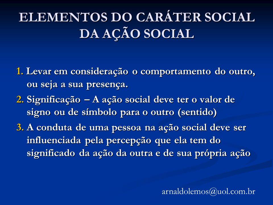 ELEMENTOS DO CARÁTER SOCIAL DA AÇÃO SOCIAL
