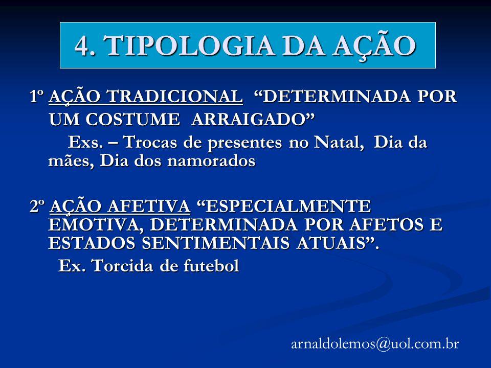4. TIPOLOGIA DA AÇÃO 1º AÇÃO TRADICIONAL DETERMINADA POR