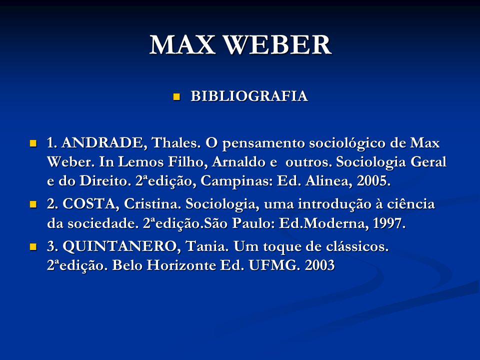 MAX WEBER BIBLIOGRAFIA
