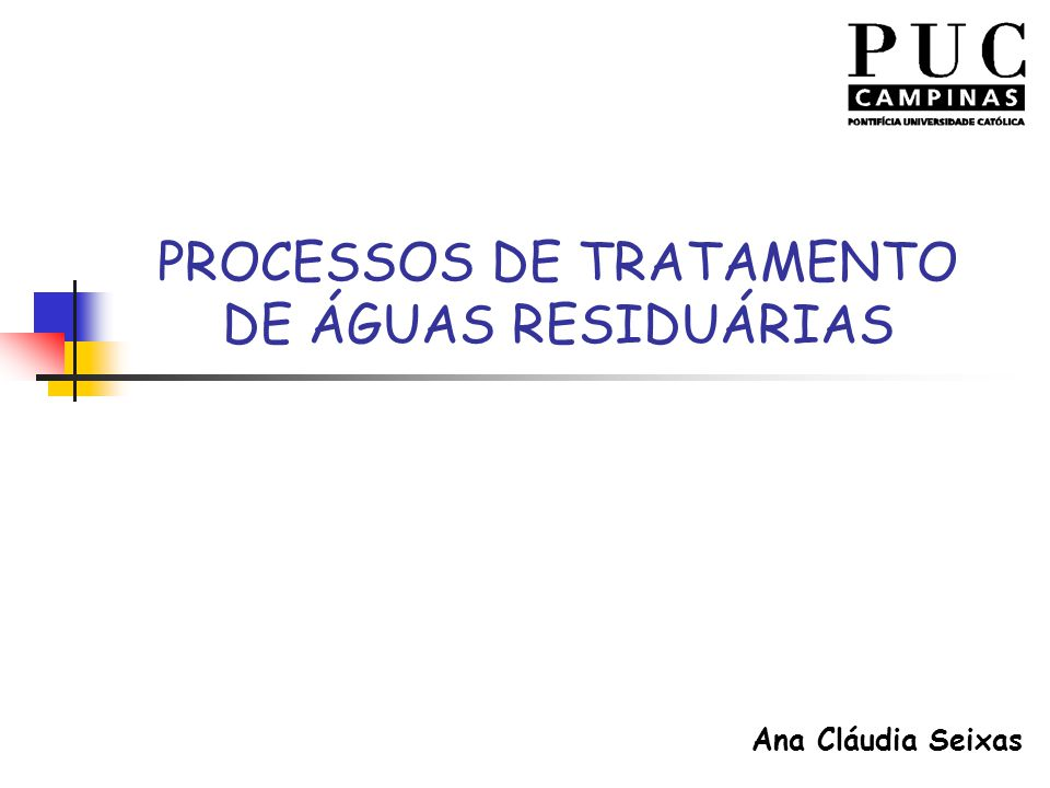 PROCESSOS DE TRATAMENTO DE ÁGUAS RESIDUÁRIAS