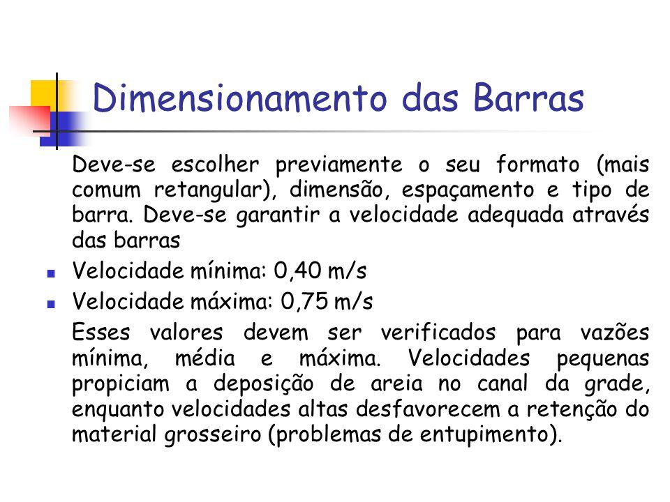 Dimensionamento das Barras