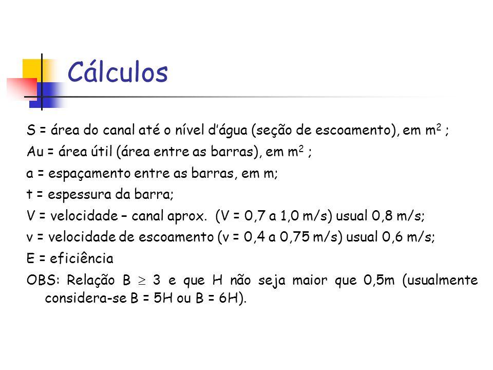 Cálculos S = área do canal até o nível d'água (seção de escoamento), em m2 ; Au = área útil (área entre as barras), em m2 ;