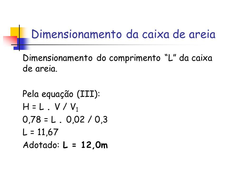 Dimensionamento da caixa de areia