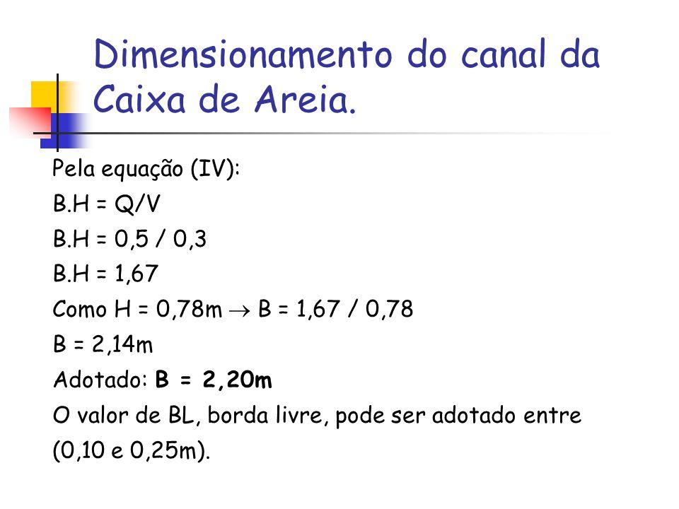 Dimensionamento do canal da Caixa de Areia.