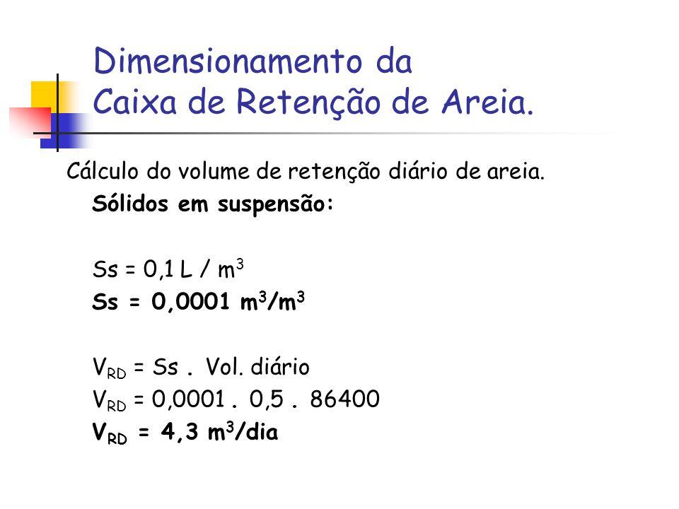 Dimensionamento da Caixa de Retenção de Areia.