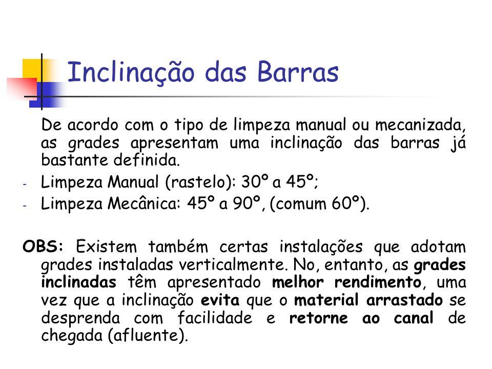 Inclinação das Barras De acordo com o tipo de limpeza manual ou mecanizada, as grades apresentam uma inclinação das barras já bastante definida.