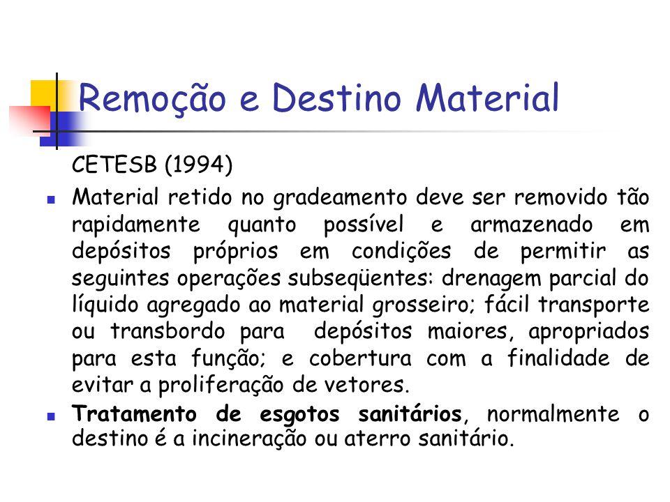 Remoção e Destino Material