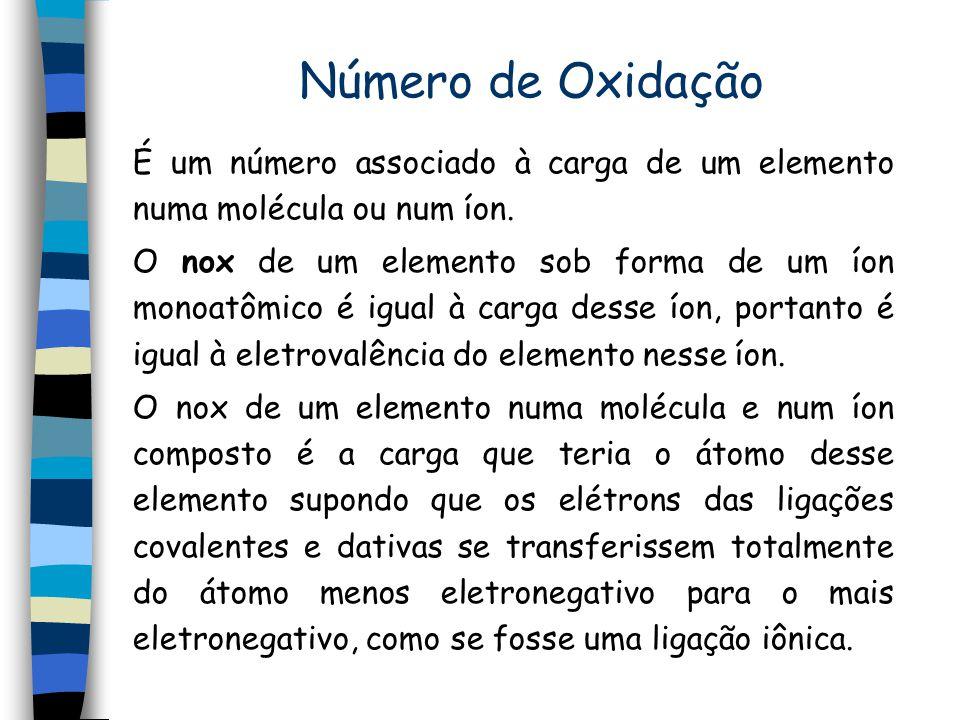 Número de Oxidação É um número associado à carga de um elemento numa molécula ou num íon.