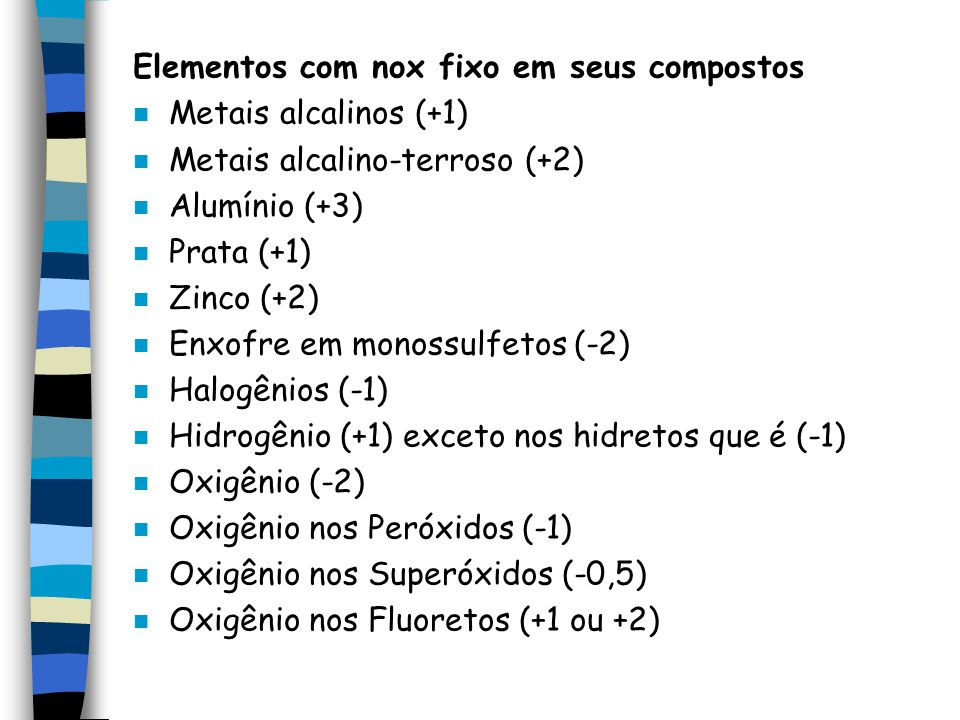 Elementos com nox fixo em seus compostos