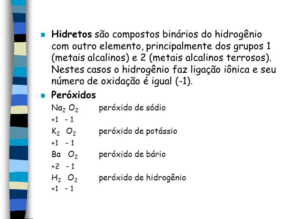 Hidretos são compostos binários do hidrogênio com outro elemento, principalmente dos grupos 1 (metais alcalinos) e 2 (metais alcalinos terrosos). Nestes casos o hidrogênio faz ligação iônica e seu número de oxidação é igual (-1).