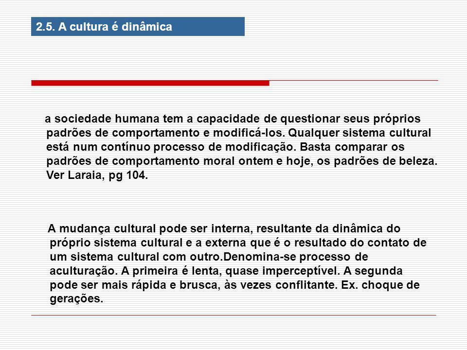 2.5. A cultura é dinâmica